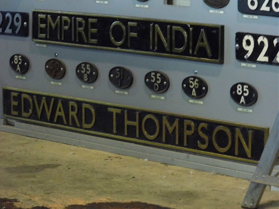 Nameplates for A4 60011 Empire of India and A2 60500 Edward Thompson, Sat 28/12/2013.