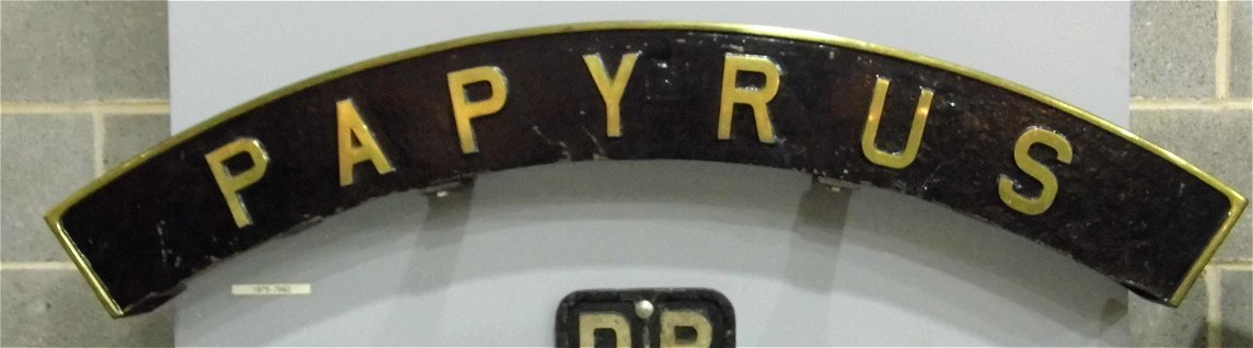 Papyrus nameplate for the record breaking A3 2750 which did 108 mph, Sat 28/12/2013.