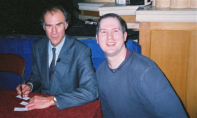Adrian Jones - The Author [right], with world famous explorer Sir Ranulph Fiennes. Chesterfield Winding Wheel Theatre 19/11/2003.
