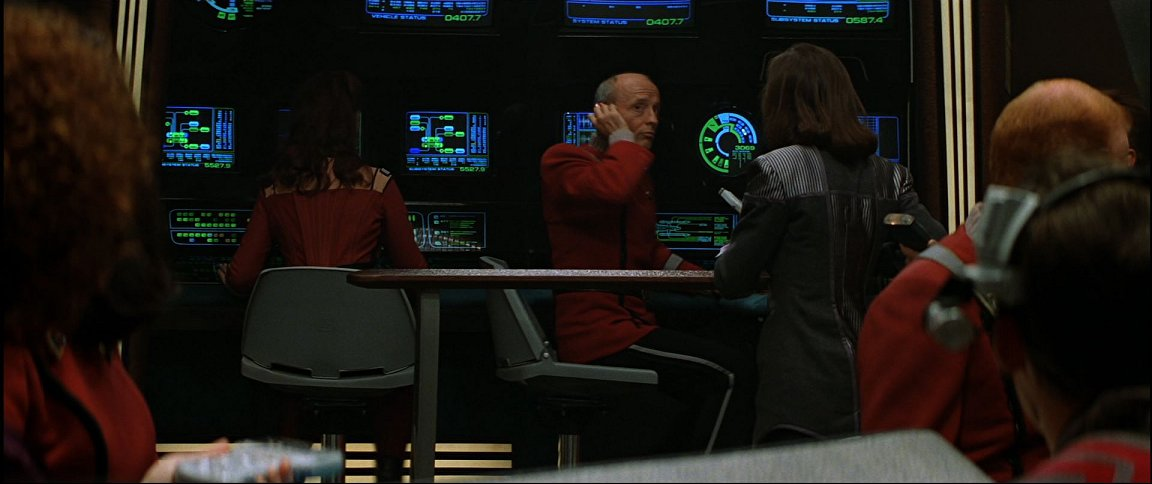 The communications station on the identical Enterprise-B displays the clarity of modern bridge stations