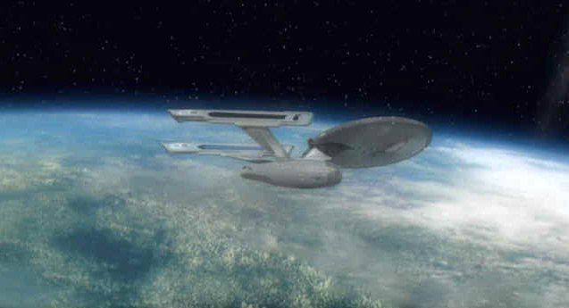 U.S.S. Explorer over the future site of Starbase 77