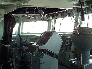 Bridge of HMCS Halifax. The Captain's chair is visible on the left of the image. Copyright Russ Price 2001. All Rights Reserved.