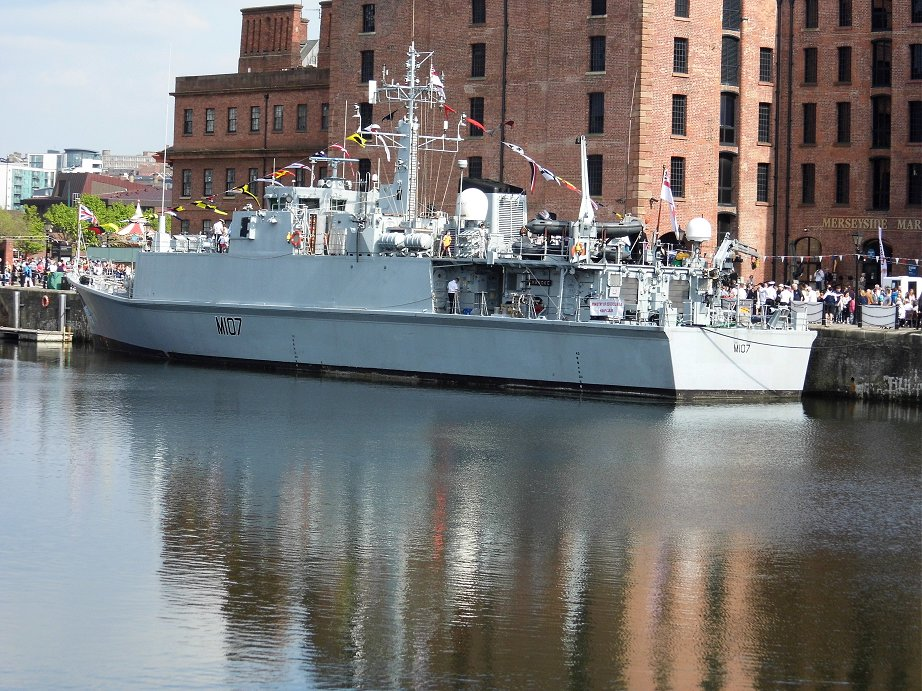 Sandown class Batch II Mine Hunter HMS Pembroke M107, Cannock Dock, Liverpool. May 26th 2013.
