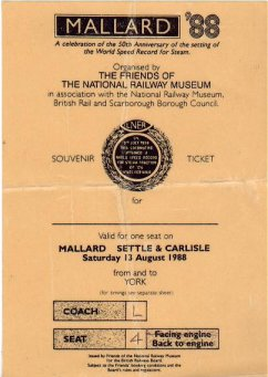 Mallard 88 souvenir ticket August 13th 1988