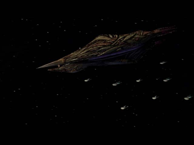 Metar ship with the Federation fleet in the background.