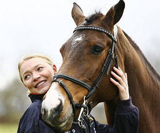 Judith Peers with her polo pony Hercules.