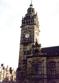 Sheffield Town Hall - an unchanging image with Vulcan at the top of the clock tower.