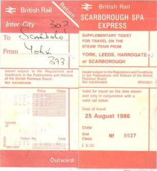 Scarborough Spa express Ticket August 25th 1986